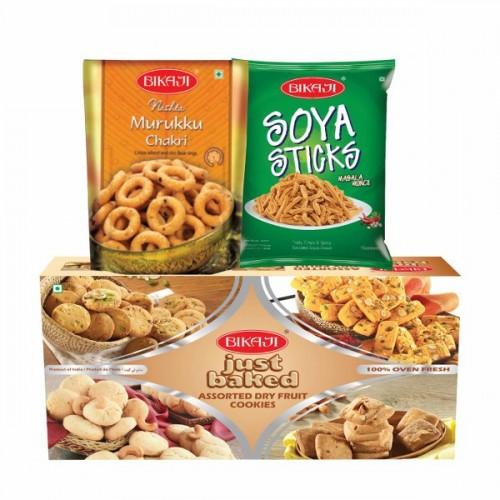 Bikaji Assorted dry fruit cookies, murruku chakri and soya sticks combo
